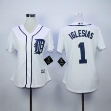Women Detroit Tigers 1 Iglesias White MLB Jerseys