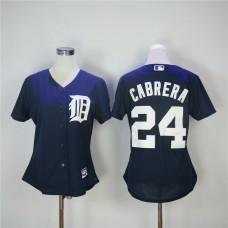 Women Detroit Tigers 24 Cabrera Blue MLB Jerseys