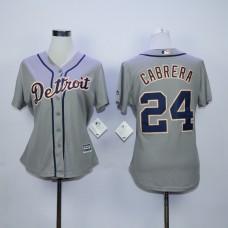 Women Detroit Tigers 24 Cabrera Grey MLB Jerseys