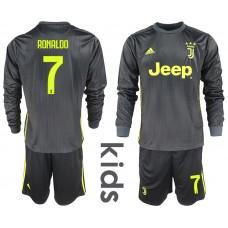 2018_2019 Club Juventus away long sleeves Youth 7 soccer jerseys
