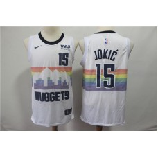 Men Denver Nuggets 15 Jokic White City Edition Game Nike NBA Jerseys