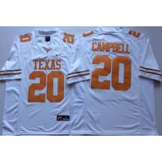 Men Texas Longhorns 20 Campbell White Nike NCAA Jerseys