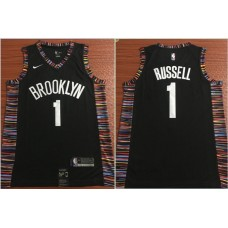 Men Brooklyn Nets 1 Russell Black Nike Game NBA Jerseys
