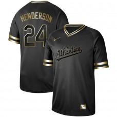 Men Oakland Athletics 24 Henderson Nike Black Gold MLB Jerseys