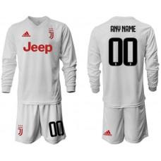 Men 2019-2020 club Juventus away white long sleeve customized Soccer Jerseys