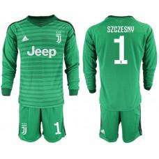 Men 2019-2020 club Juventus green long sleeve goalkeeper 1 Soccer Jerseys