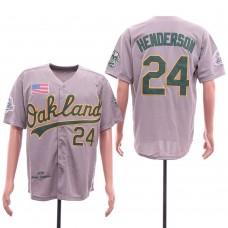 Men Oakland Athletics 24 Henderson Grey Throwback 1990 MLB Jerseys