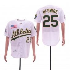 Men Oakland Athletics 25 Mcgwire White Throwback 1989 MLB Jerseys