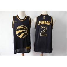 Men Toronto Raptors 2 Kawhi Leonard Black Gold Nike Swingman Jersey