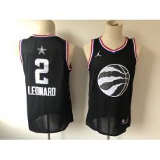 Men Toronto Raptors 2 Leonard  Black 2019 All Star NBA Jerseys