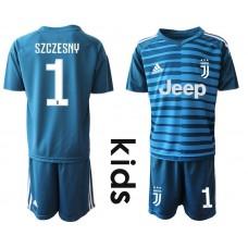 Youth 2019-2020 club Juventus blue goalkeeper 1 Soccer Jerseys