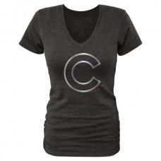 2016 Chicago Cubs Fanatics Apparel Women's Platinum Collection V-Neck Tri-Blend T-Shirt Black