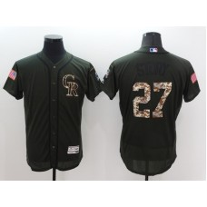 2016 MLB Colorado Rockies 27 Trevor Story Green Salute to Service Stitched Baseball Jersey