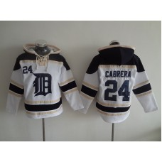 2016 MLB Detroit Tigers 24 Cabrera white Lace Up Pullover Hooded Sweatshirt