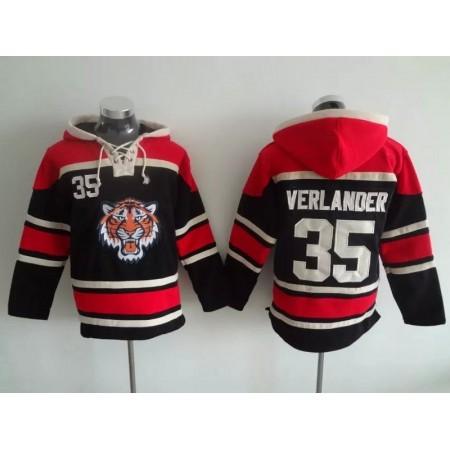 2016 MLB Detroit Tigers 35 Verlander black Lace Up Pullover Hooded Sweatshirt