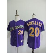 2016 MLB FLEXBASE Arizona Diamondback 20 Gonzalez Purple Jerseys
