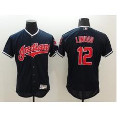 2016 MLB FLEXBASE Cleveland Indians 12 Lindor Blue Jersey