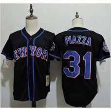 2016 MLB FLEXBASE New York Mets 31 Piazza Black Throwback Jerseys