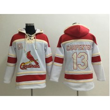 2016 MLB St.Louis Cardinals 13 Carpenter white Pullover Hooded Sweatshirt