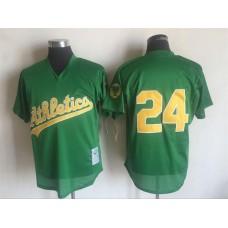 2017 MLB Oakland Athletics 24 Rickey Henderson Green Throwback Jerseys1