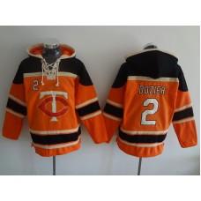 MLB Minnesota Twins 2 Dozier Orange Lace Up Pullover Hooded Sweatshirt