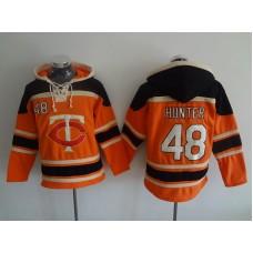 MLB Minnesota Twins 48 Hunter Orange Lace Up Pullover Hooded Sweatshirt