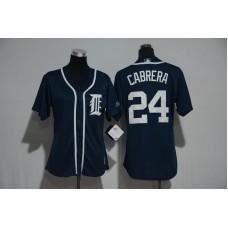 Womens 2017 MLB Detroit Tigers 24 Cabrera Blue Jerseys