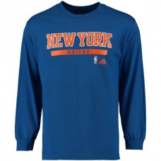 2016 NBA New York Knicks adidas Cut and Paste Long Sleeve T-Shirt - Blue