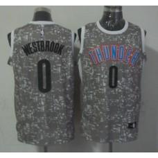 NBA Oklahoma City Thunder 0 westbrook Grey National Flag Star Jersey