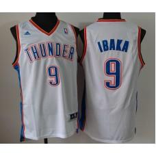 NBA Oklahoma City Thunder 9 Serge Ibaka White Jerseys
