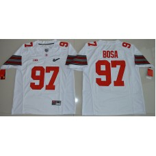 2015 Ohio State Buckeyes Joey Bosa 97 Diamond Quest College Football White Jersey