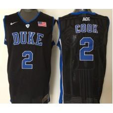 2016 NBA NCAA Duke Blue Devils 2 Cook Black Jerseys
