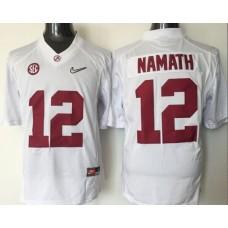 2016 NCAA Alabama Crimson Tide 12 Namath white jerseys