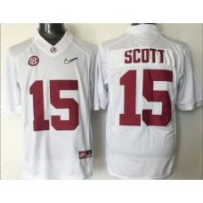 2016 NCAA Alabama Crimson Tide 15 Scott white jerseys