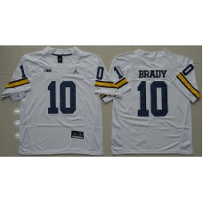 2016 NCAA Jordan Brand Michigan Wolverines 10 Tom Brady White College Football Limited Jersey