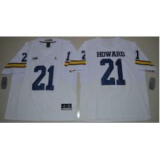 2016 NCAA Jordan Brand Michigan Wolverines 21 Desmond Howard White College Football Elite Jersey