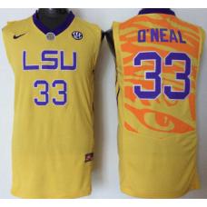 2016 NCAA LSU Tigers 33 O'neal yellow jerseys
