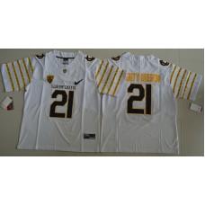 2016 NCAA Oregon Ducks Spring Game 21 Mighty Oregon White Weebfoot 100th Rose Bowl Game Elite Jersey