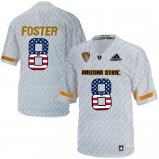2016 US Flag Fashion Men Arizona State Sun Devils D.J. Foster 8 Desert Ice College Football Jersey  White
