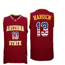 2016 US Flag Fashion Men Arizona State Sun Devils James Harden 13 College Basketball Jersey  Maroon