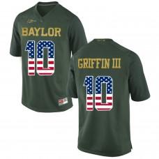 2016 US Flag Fashion Men Baylor Bears Rebort Griffin III 10 College Football Jersey Green