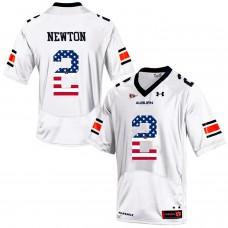 2016 US Flag Fashion Men Under Armour Cam Newton 2 Auburn Tigers College Football Jersey  White