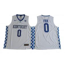 2017 Kentucky Wildcats De'Aaron Fox 0 College Basketball Elite Jersey - White