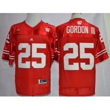 NCAA Wisconsin Badgers 25 Melvin Gordon III Red Big Ten College Football Jerseys.