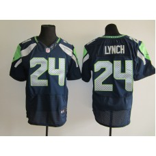 2015 NFL Seattle Seahawks 24 Marshawn Lynch Blue Men Nike Elite Jerseys