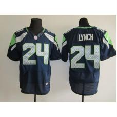 2015 NFL Seattle Seahawks 24 Marshawn Lynch Blue Men Nike Elite Jerseys