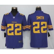 2016 NEW Nike Minnesota Vikings 22 Smith Navy Purple Color Rush Limited Jersey