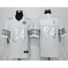 2016 New Nike Pittsburgh Steelers 84 Brown Platinum White Limited Jerseys