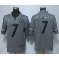 2016 New Pittsburgh Steelers 7 Roethlisberger Gray Men's Stitched Gridiron Gray Limited Jersey.