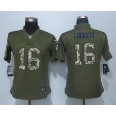 2016 Women New Nike Seattle Seahawks 16 Lockett Green Salute To Service Limited Jersey
